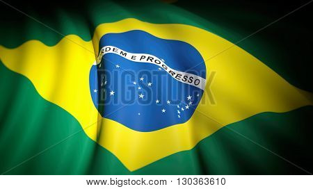 3D rendering of wavy flag of Brazil, closeup background