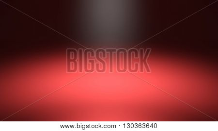 Red blurred spotlight, dark abstract background