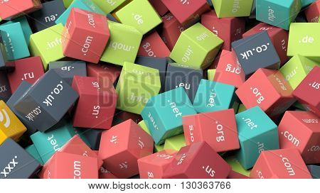 3d rendering, colorful cubes with domain extensions, background
