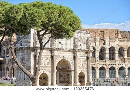 Rome colosseo outside arc court view detail panorama