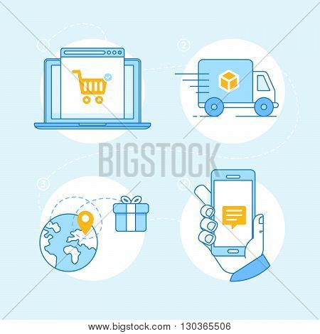 Vector Set Of Linear Flat Icons And Infographics Design Elements - Internet Shopping Process