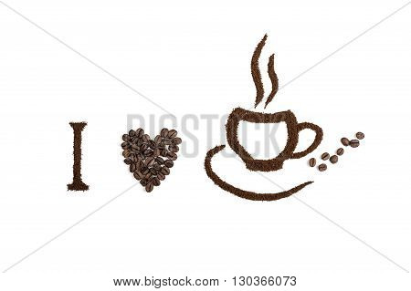 Coffee Cup Made From Coffee Beans Background.