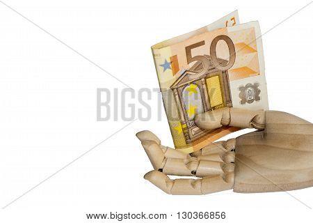 wood hand holding 50 euro on white background