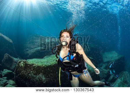 Beaytiful Latina Mexican Diver Underwater