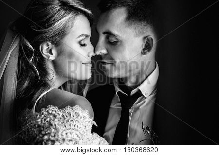 Romantic Happy Couple, Bride & Groom Kissing Near Window Closeup B&w