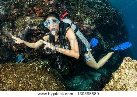 Beautiful Latina Scuba Diver Girl