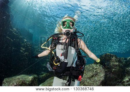 Beauty Blonde Diver Girl Looking At You