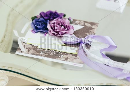 Romantic Wish Card With Flowers At Wedding Reception