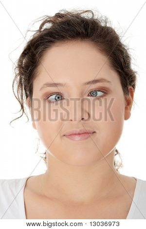 Young woman making squint, isolated on white