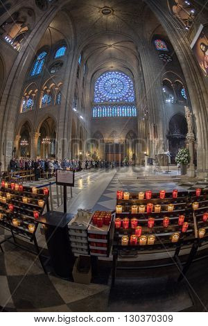 Paris, France - May 1, 2016 - Notre Dame Cathedral Crowded For Sunday Mass