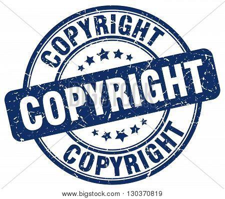 copyright blue grunge round vintage rubber stamp