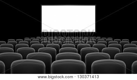 Cinema hall with white screen and gray row chairs