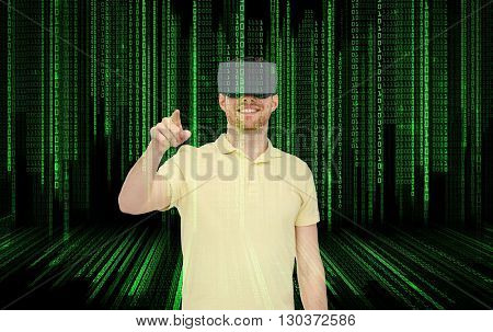 3d technology, virtual reality, entertainment and people concept - happy young man with virtual reality headset or 3d glasses playing game over binary code background