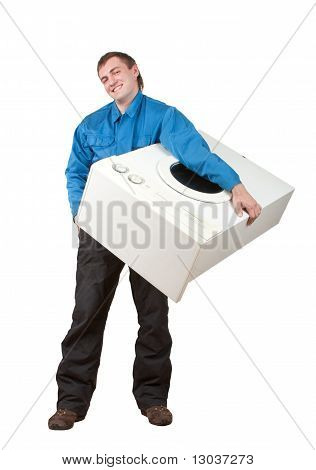 Repairman holding washing machine