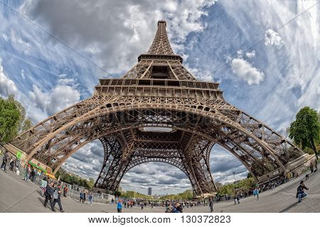 Paris, France - May 2, 2016: Tour Eiffel Town Symbol On Sunny Day