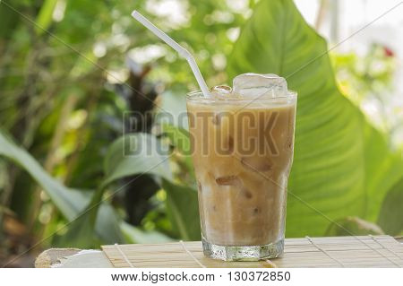Ice coffee caramel Latte on the table