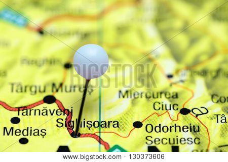 Sighisoara pinned on a map of Romania