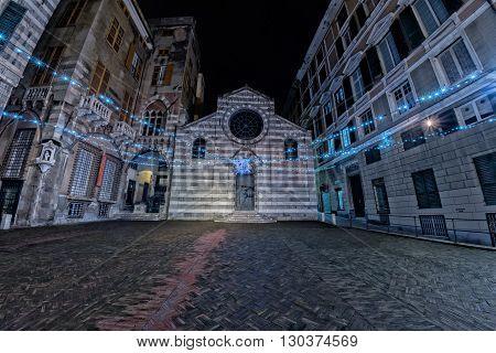 Genoa San Matteo Church And Plaza At Night