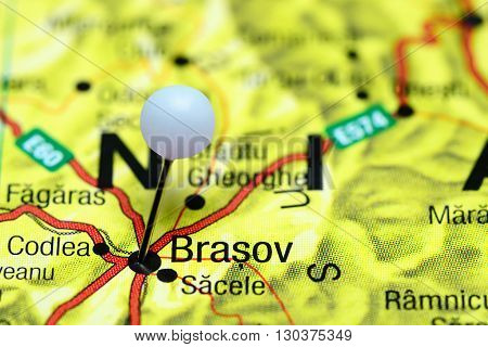 Brasov pinned on a map of Romania