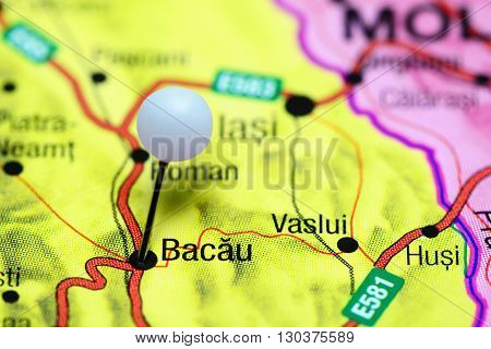 Bacau pinned on a map of Romania