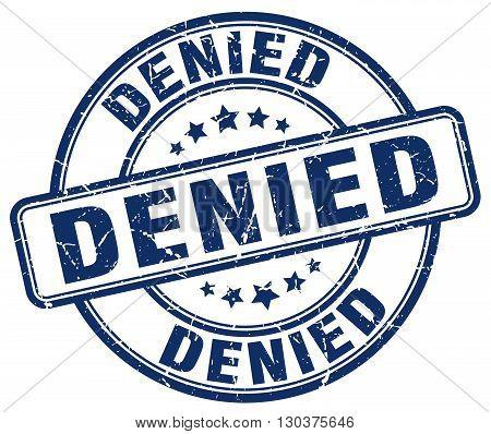 denied blue grunge round vintage rubber stamp