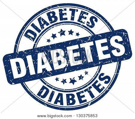 diabetes blue grunge round vintage rubber stamp