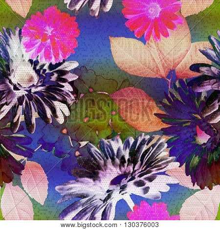 art vintage floral seamless pattern with blue, fuchsia, pink, orange and green roses, asters and leaves on blue background; halftone effect
