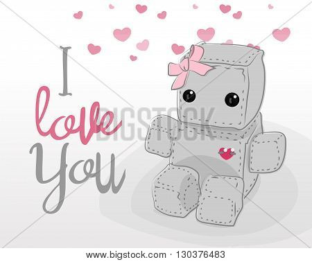 Cute felt robot girl plush toy with heart Valentines Day love and sitting. Robot with ribbon robot illustration on a light background lettering
