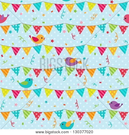 Seamless vector pattern with bunting and sitting birds