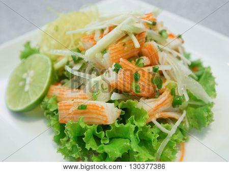 Spicy crab salad homemade,Japanese food on dish