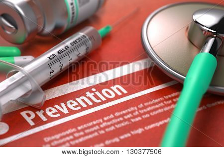 Prevention - Medical Concept on Orange Background with Blurred Text and Composition of Pills, Syringe and Stethoscope. 3D Render.
