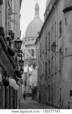 Paris Montmatre View In Black And White