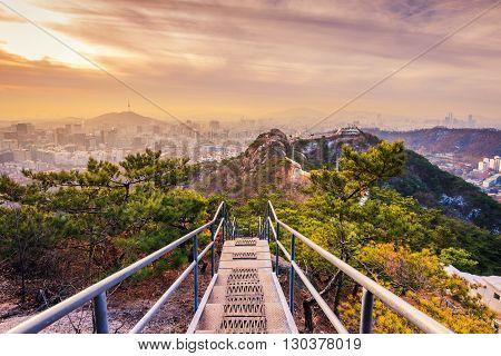 Sun Rises Over Of Seoul City,south Korea..
