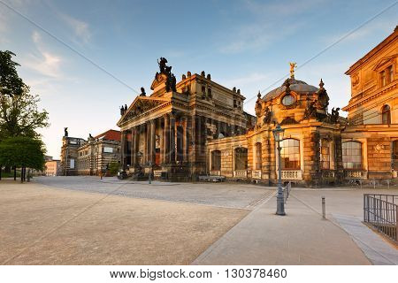 Historic architecture in the old town of Dresden, Germany.