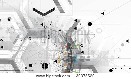 Abstract Tech Background. Futuristic Technology Interface. Vector Illustration With Many Geometric S