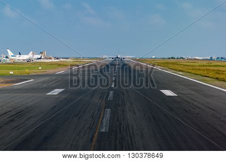 Airplane While Taking Off In Island Airport