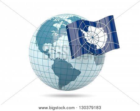 Globe With Flag Of Antarctica