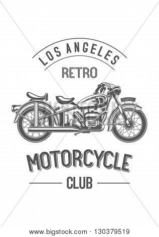 Retro motorcycle club logo. Monochrome black old bike isolated on white. Sample city and club names around the badge.