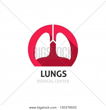 Lungs vector logo template isolated on white background, flat red lungs icon, medical clinic diagnostic center symbol