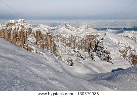 Dolomites Aerial Sky View Taken From Helicopter In Winter
