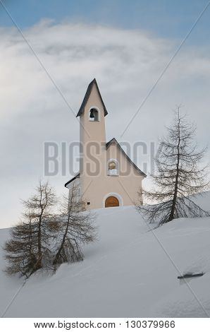 A Small Mountain Church In Snow Background Winter Time