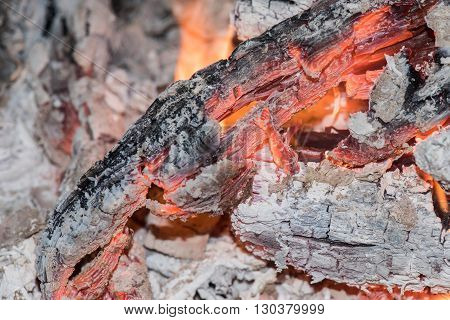 Wood Embers Detail In Fire Place