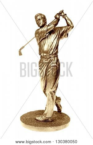 Gold golfer statue isolated on white with clipping path.