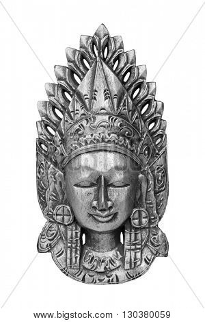 Silver wooden mask of god Vishnu isolated on white