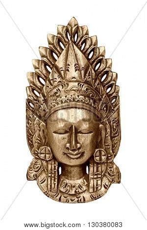 Gold wooden mask of god Vishnu isolated on white