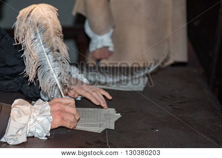 Hand Writing A Letter With A Plume