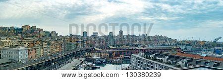 Aerial Genoa Town Cityscape Landscape