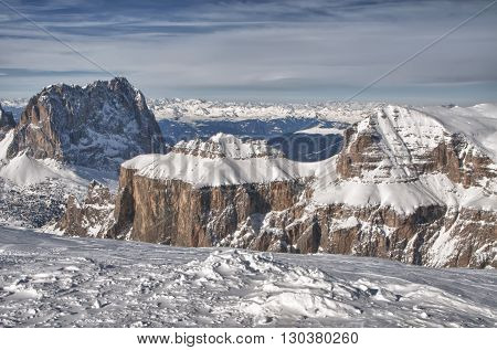 Pordoi Mountains On Winter Time
