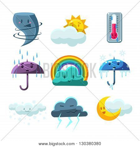 Weather Forecast Pictures Set Of Cute Childish Style Bright Color Design Icons Isolated On White Background