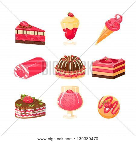 Strawberry Dessert Set Of Cute Childish Style Bright Color Design Icons Isolated On White Background